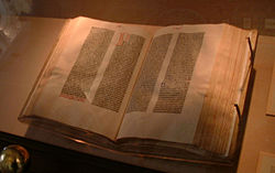 The 42-line Gutenberg Bible on display at the Library of Congress, Washington DC