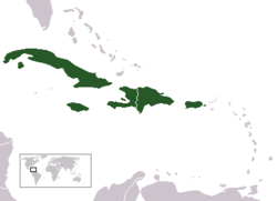 Location of the Greater Antilles (green) in relation to the rest of the Caribbean