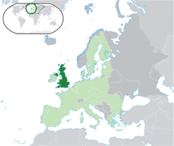 Location o the  Unitit Kinrick  (dark green)– on the European continent  (licht green & dark grey)– in the European Union  (licht green)