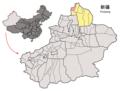 Location of Habahe within Xinjiang (China).png