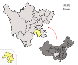 Location of Jiang'an within Sichuan (China).png