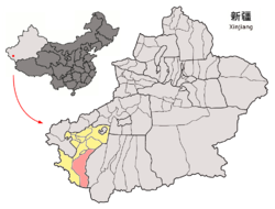 Location of Kargilik County (red) within Kashgar Prefecture (yellow) and Xinjiang