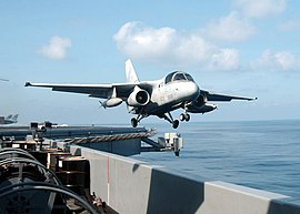 Lockheed S-3B Viking of VS-35 is launched from USS Abraham Lincoln (CVN-72) on 28 August 2002 (020828-N-9593M-019).jpg