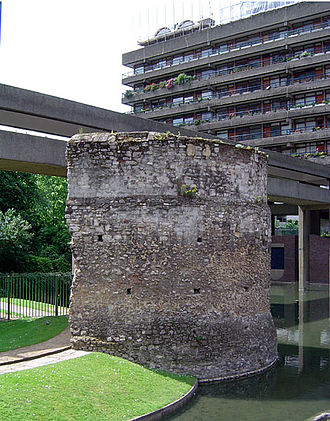 London Wall - Bastion, which is near the Barbican Estate, stands on Roman foundations with an upper structure of 13th-century masonry.