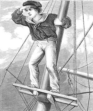 Lookout (clipper) - Lookout boy aloft, by Harrison Weir