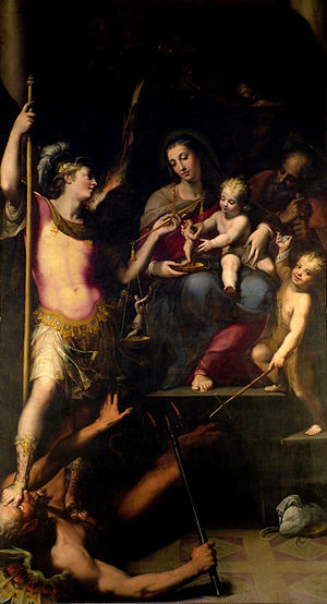 Lorenzo Sabbatini - Lorenzo Sabatini and Denys Calvaert's depiction of the Holy Family with Saints John the Baptist and Michael in the church of San Giacomo Maggiore, Bologna