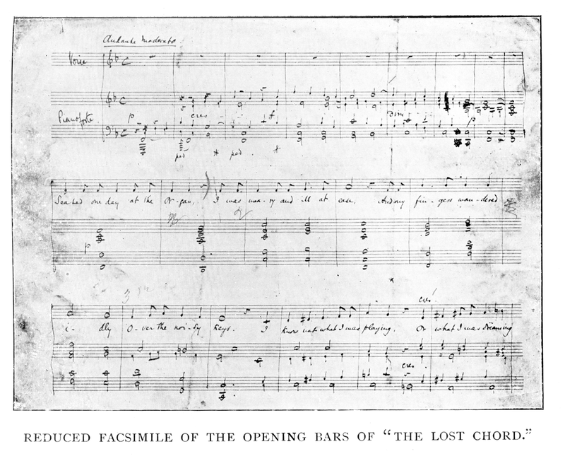 "The opening bars of ""The Lost Chord""; facsimile of Sullivan's manuscript Lost Chord Opening from Arthur Sullivan by H. Saxe Wyndham, With a Chapter by Ernest Ford, London, George Bell and Sons, 1903.png"