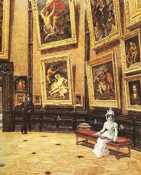 File:Louis Beroud - au Louvre 1899.jpg