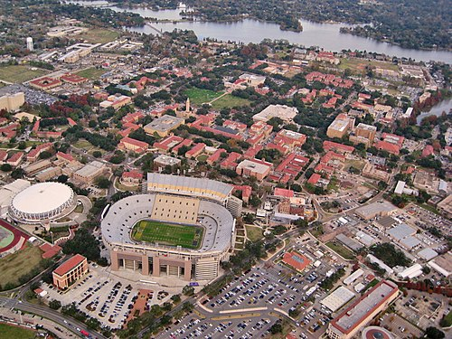 LSU's campus with Tiger Stadium and the PMAC in the foreground Louisiana State University (aerial view).jpg