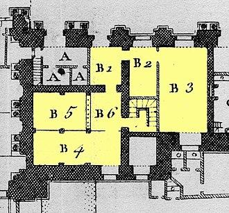 Académie royale d'architecture - Image: Louvre Plan au rez de chaussée Architecture françoise Tome 4 Livre 6 Pl 5 (Académie d'Architecture, detail)