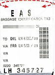 Lufthansa - bag tag Cairo-Frankfurt-Köln Hbf - LH 6830 - 2008-07-26.jpg