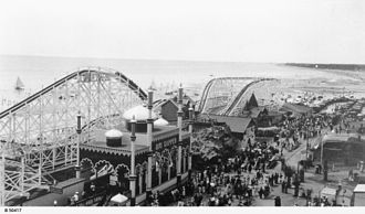 Big Dipper (Luna Park Sydney) - The Big Dipper in its original location at Luna Park Glenelg