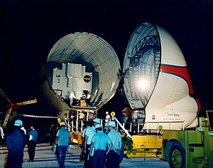 Aero Spacelines Super Guppy - Lunar Module 3 arrives at Kennedy Space Center, packed aboard the Super Guppy for the Apollo 9 mission, June 1968
