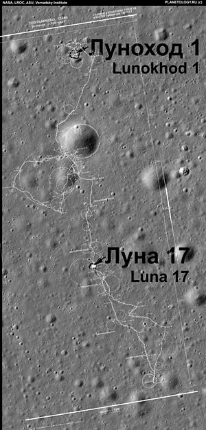 Luna 17 - Luna 17 and Lunokhod 1 landing site photographed by LRO