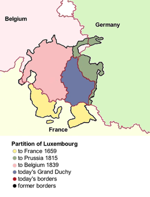 Duchy of Luxemburg - The Partitions of Luxembourg have over the years greatly reduced its territory
