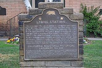 Lyons Station Stagecoach Stop - Image: Lyons Station Marker