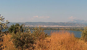 Lysimachia Lake, Etoloakarnania, Greece - View upon the lake with the city of Agrinio in the background.jpg