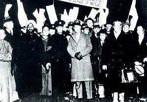 Lytton Report - Lytton Commission members in Shanghai (Lord Lytton wearing coat in center of photo)