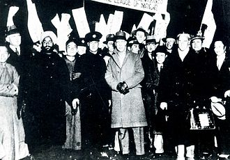 Lytton Report - Lytton Commission members in Shanghai (Lord Lytton wearing a coat in center of photo)
