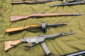 High power rifle - An U.S. M1 Garand, a Soviet PPsh-41 and a German Sturmgewehr 44.
