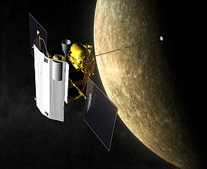 MESSENGER - Artist's rendering of MESSENGER orbiting Mercury.