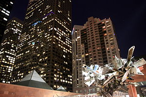 Museum of Contemporary Art, Los Angeles - MOCA downtown buildings and Mark Thompson's Airplane Parts sculpture