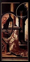 Linkerzijluik van het Drapeniersaltaar, buitenzijde: De Annunciatie (Maria)
