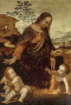 The Madonna and Child with the Infant St. John the Baptist (Leonardo da Vinci) - Image: Madonna and Child with the Infant St. John the Baptist, Ashmoleam Museum