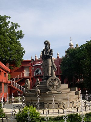 A statue of the legendary king Manuneedhi Chol...