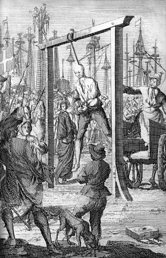 History of Charleston - The hanging of pirate Stede Bonnet in Charleston, 1718