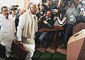 Mallikarjun Kharge arrives at Parliament House to present the Interim Railway Budget 2014-15documents, in New Delhi on February 12, 2014. The Minister of State for Railways, Shri K.J. Surya Prakash Reddy is also seen.jpg
