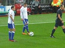 63c645bad Taulant Xhaka - Xhaka on the ball during a game against Manchester United.