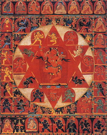 English: 14th century Tibetan thangka painting...