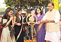 Maneka Sanjay Gandhi and the Union Minister for Agriculture and Farmers Welfare, Shri Radha Mohan Singh lighting the lamp to inaugurate the first of its kind Women of India Exhibition with the theme 'Women and organic.jpg