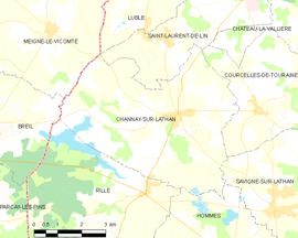 Mapa obce Channay-sur-Lathan