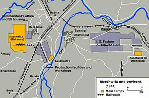 Auschwitz concentration camp - Map showing the location of the three main camps (1944). Prisoners: yellow; facilities: blue-gray