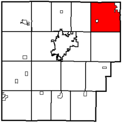 Location of Washington Township in Hancock County.