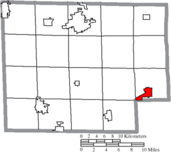 Location of New London in Huron County