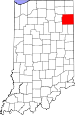 Map of Indiana highlighting Allen County.svg