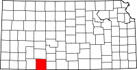 Map of Kansas highlighting Clark County