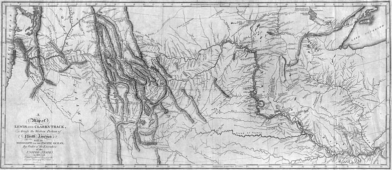 Map of western North America drawn by Lewis and Clark Map of Lewis and Clark's Track, Across the Western Portion of North America, published 1814.jpg
