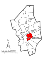 Map of Columbia County, Pennsylvania highlighting Main Township