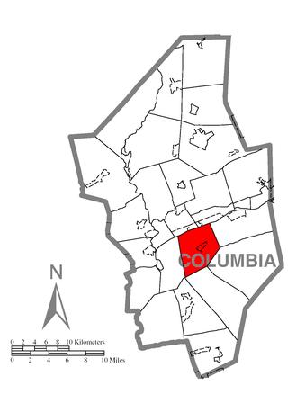 Main Township, Columbia County, Pennsylvania - Image: Map of Main Township, Columbia County, Pennsylvania Highlighted