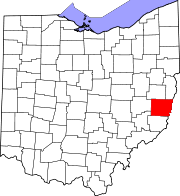Map of Ohio highlighting Belmont County