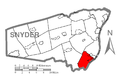 Map of Snyder County, Pennsylvania Highlighting Chapman Township.PNG