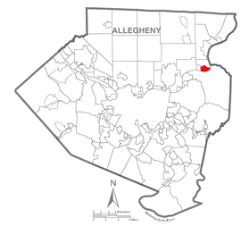 Map of Springdale, Allegheny County, Pennsylvania Highlighted.png