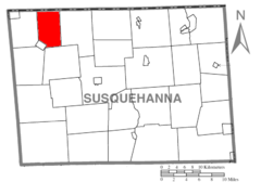 Map of Susquehanna County Pennsylvania highlighting Choconut Township.PNG