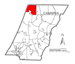 Map of Cambria County, Pennsylvania highlighting Susquehanna Township