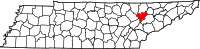 Map of Tennessee highlighting Anderson County