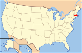 Map of the United States with ماساچوست highlighted